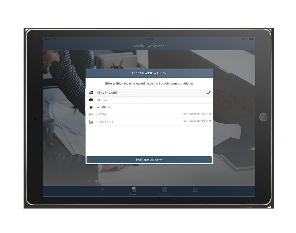 CORES Planer iPad App – Assetklassen