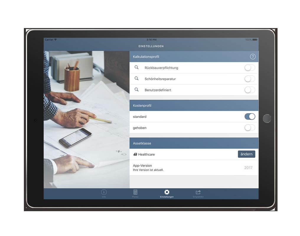 CORES Planer iPad App – Einstellungen