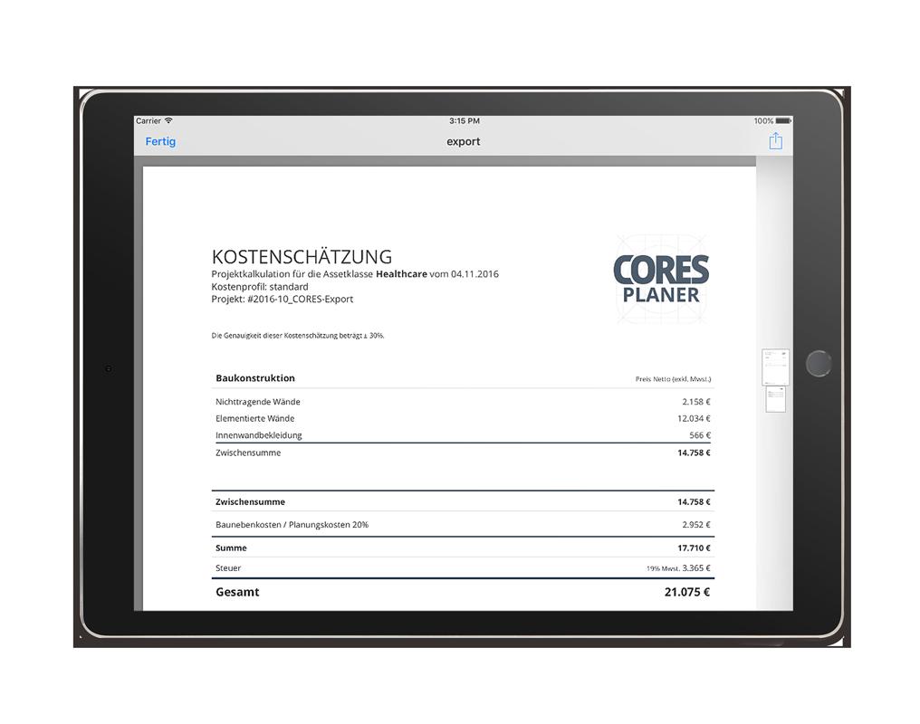 CORES Planer iPad App – PDF-Export