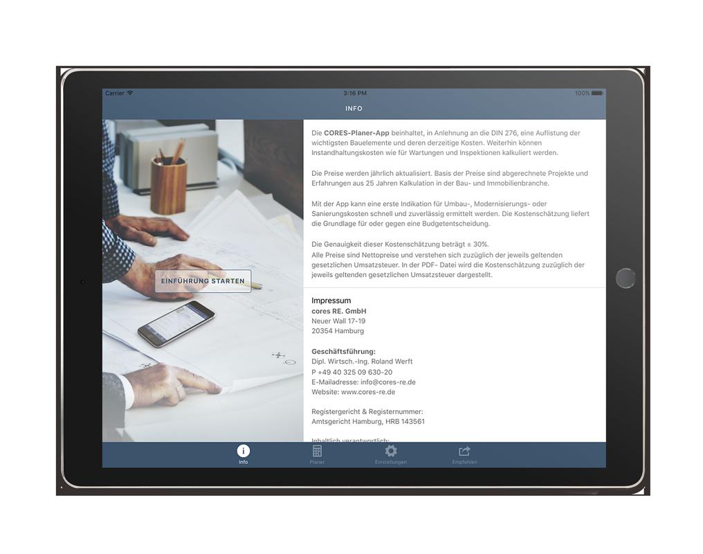 CORES Planer iPad App – Kalkulation