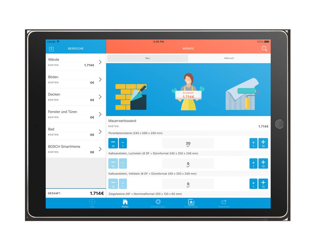 VECTIS Planer iPad App – Asset Wände